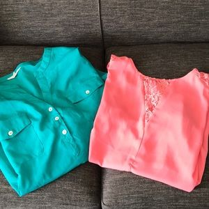 Bundle of 2 sheer polyester blouses size large